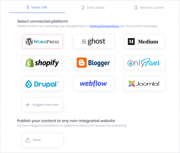 Multi channel content publishing