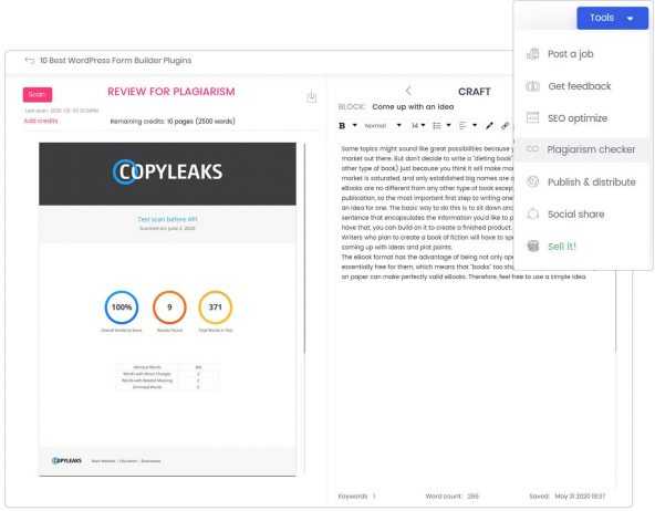 Content plagiarism checker Blogely