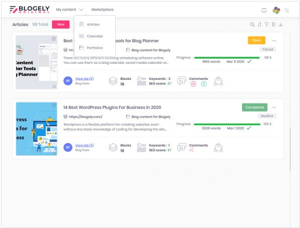 Content marketing software app