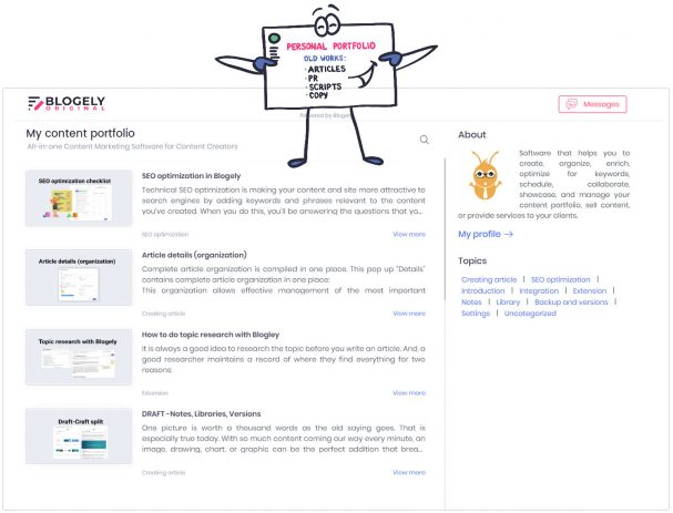 Content portfolio management app