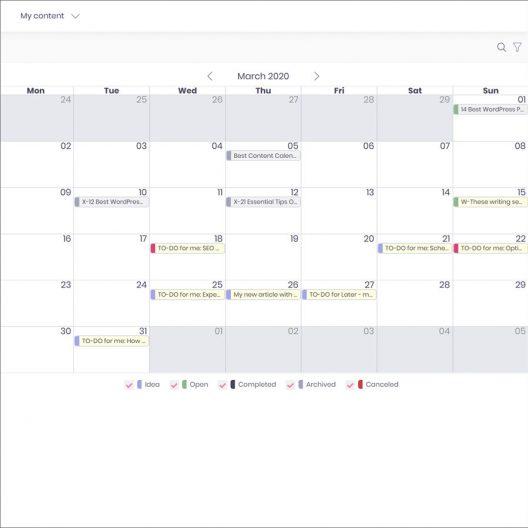 Content marketing app editorial calendar