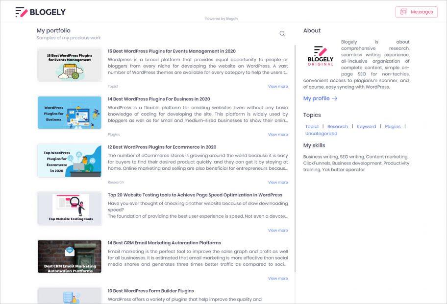 Content portfolio freelancer app