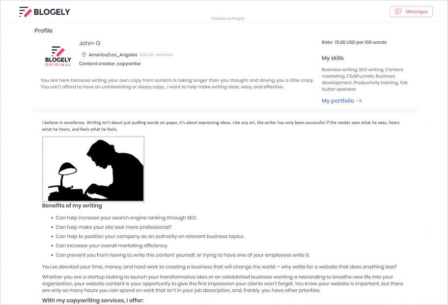 Content portfolio freelancer profile app